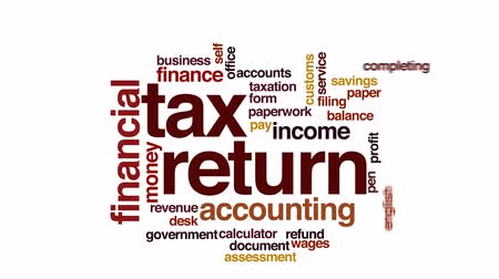 gümrük : Tax return animated word cloud. Stok Video