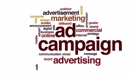modern tasarım : Ad campaign costs animated word cloud. Stok Video