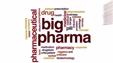 abuso : Big pharma animated word cloud. Stock Footage
