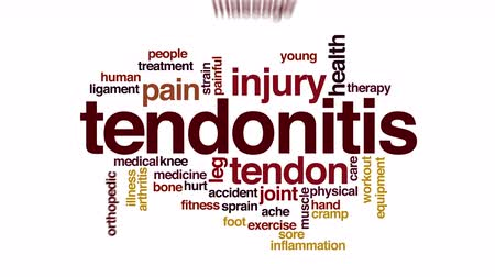 травма : Tendonitis animated word cloud. Стоковые видеозаписи