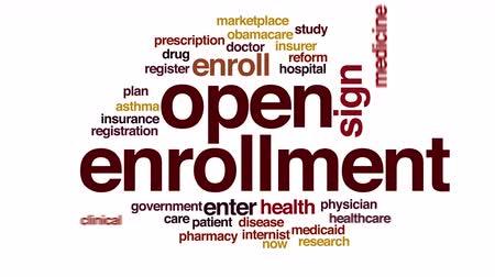 pojistka : Open enrollment animated word cloud.