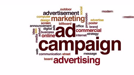 promover : Ad campaign costs animated word cloud. Stock Footage