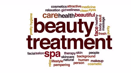 masaż twarzy : Beauty treatment campaign animated word cloud.