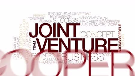 planimetrie : Joint venture animato word cloud. tipografia cinetica.