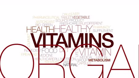 овощи : Vitamins animated word cloud. Kinetic typography.