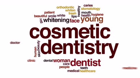 przychodnia : Cosmetic dentistry animated word cloud.