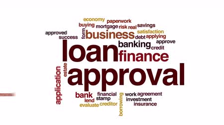 applying : Loan approval animated word cloud. Stock Footage