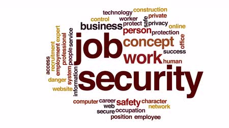 caracteres : Job security animated word cloud. Stock Footage