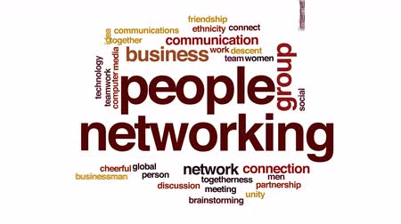 síťování : People networking animated word cloud.
