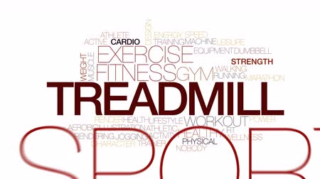caracteres : Treadmill animated word cloud. Kinetic typography. Stock Footage