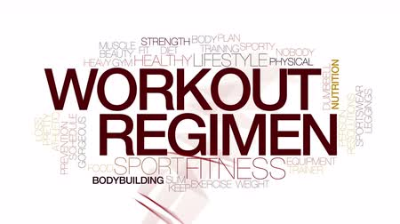 потеря : Workout regimen animated word cloud. Kinetic typography.