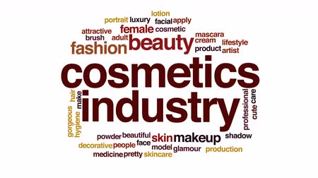 indústria : Cosmetic industry animated word cloud.
