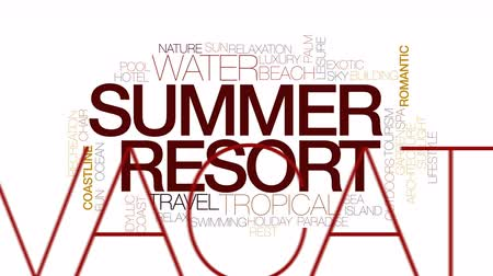 faíscas : Summer resort animated word cloud. Kinetic typography. Stock Footage