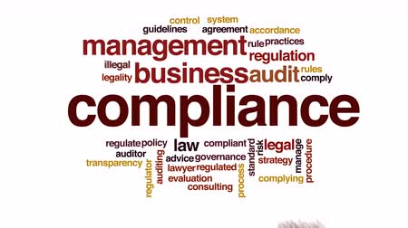 overleggen : Compliance geanimeerde word cloud.