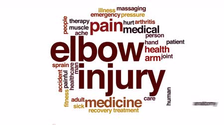 травма : Elbow injury animated word cloud.