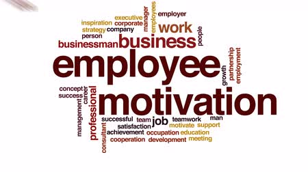pracodawca : Employee motivation animated word cloud.
