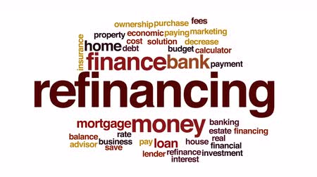 financování : Refinancing animated word cloud.