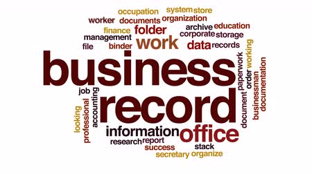 archívum : Business record animated word cloud.