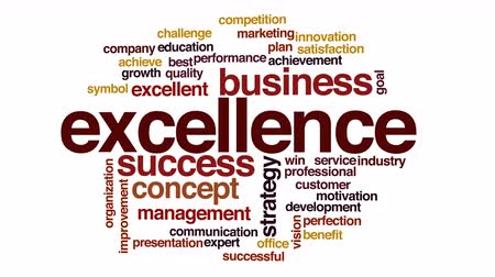 excelência : Excellence animated word cloud.