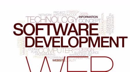 yazılım : Software development animated word cloud. Kinetic typography.