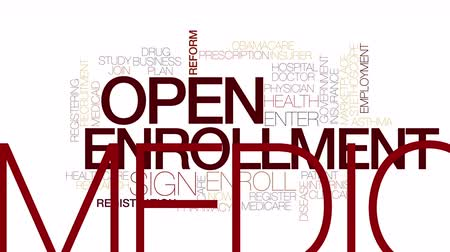вводить : Open enrollment animated word cloud. Kinetic typography. Стоковые видеозаписи