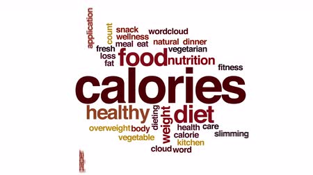 calorias : Calories animated word cloud. Stock Footage