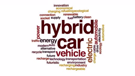recharging : Hybrid car animated word cloud. Kinetic typography. Stock Footage