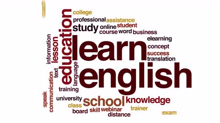 İngilizce : Learn English animated word cloud.