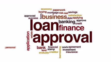 Loan approval animated word cloud. Wideo