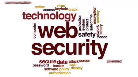 щит : Web security animated word cloud. Стоковые видеозаписи