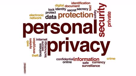 şifreleme : Personal privacy animated word cloud.