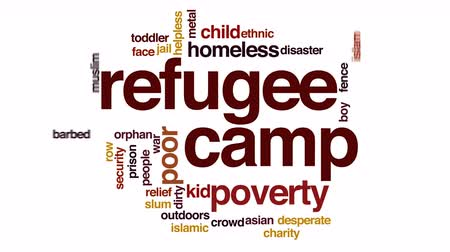 jídla : Refugee camp animated word cloud.