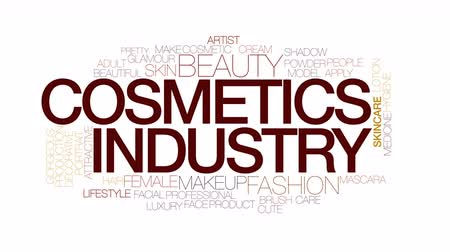 продукты : Cosmetic industry animated word cloud. Kinetic typography.