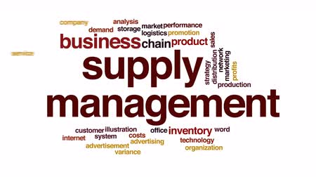 loon : Supply management geanimeerde word cloud. Stockvideo