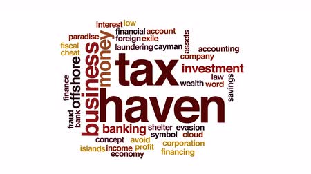 financování : Tax haven animated word cloud.