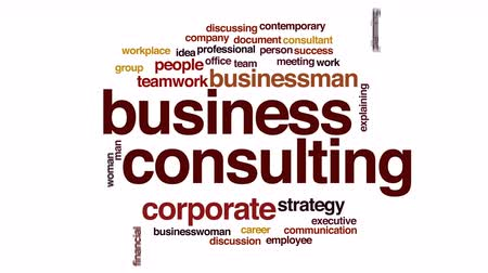 консалтинг : Business consulting animated word cloud. Стоковые видеозаписи