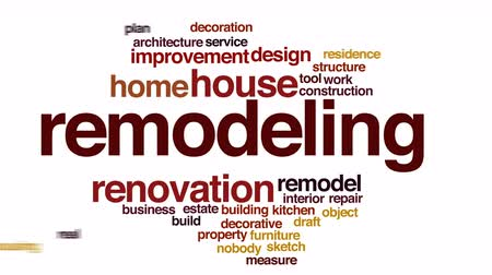 kitchen furniture : Remodeling animated word cloud.
