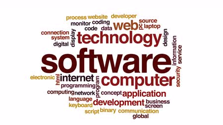 кодирование : Software animated word cloud. Стоковые видеозаписи