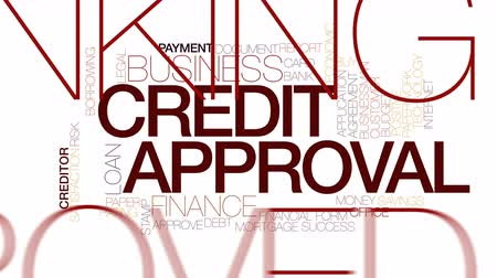 boletim : Credit approval animated word cloud. Kinetic typography. Stock Footage