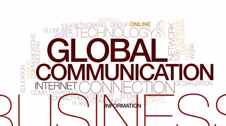 trabalho em equipe : Global communication animated word cloud. Kinetic typography.