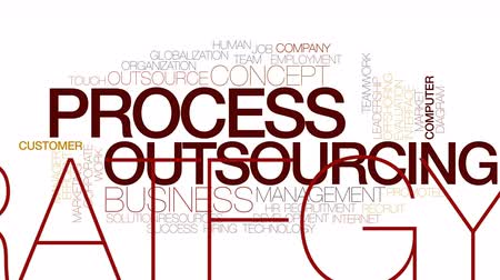 proces : Process outsourcing animated word cloud. Kinetic typography. Wideo