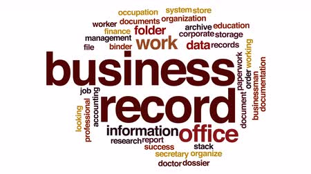 rád : Business record animated word cloud.