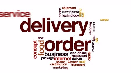sipariş : Delivery order animated word cloud. Stok Video