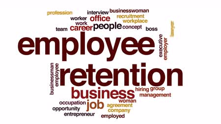 pracodawca : Employee retention animated word cloud.