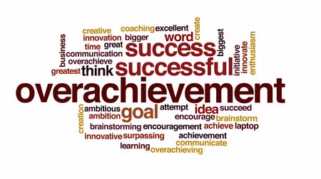 criar : Overachievement animated word cloud.