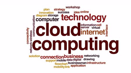 vývojový diagram : Cloud computing animated word cloud.