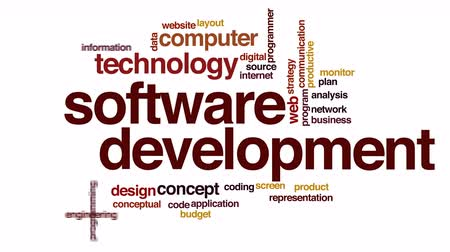 engineering : Software development animated word cloud.