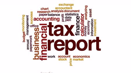 benefício : Tax report animated word cloud.