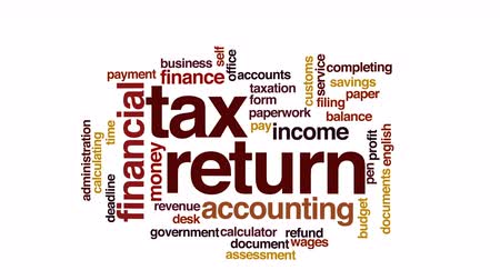 imposto : Tax return animated word cloud. Stock Footage