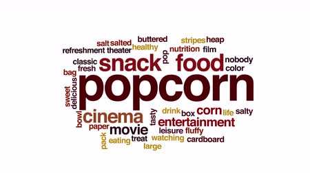 sinema : Popcorn animated word cloud.